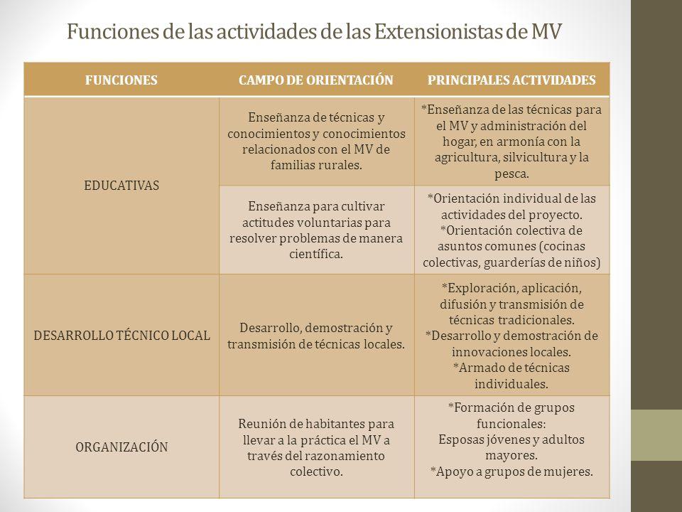 Funciones de las actividades de las Extensionistas de MV FUNCIONESCAMPO DE ORIENTACIÓNPRINCIPALES ACTIVIDADES EDUCATIVAS Enseñanza de técnicas y conoc