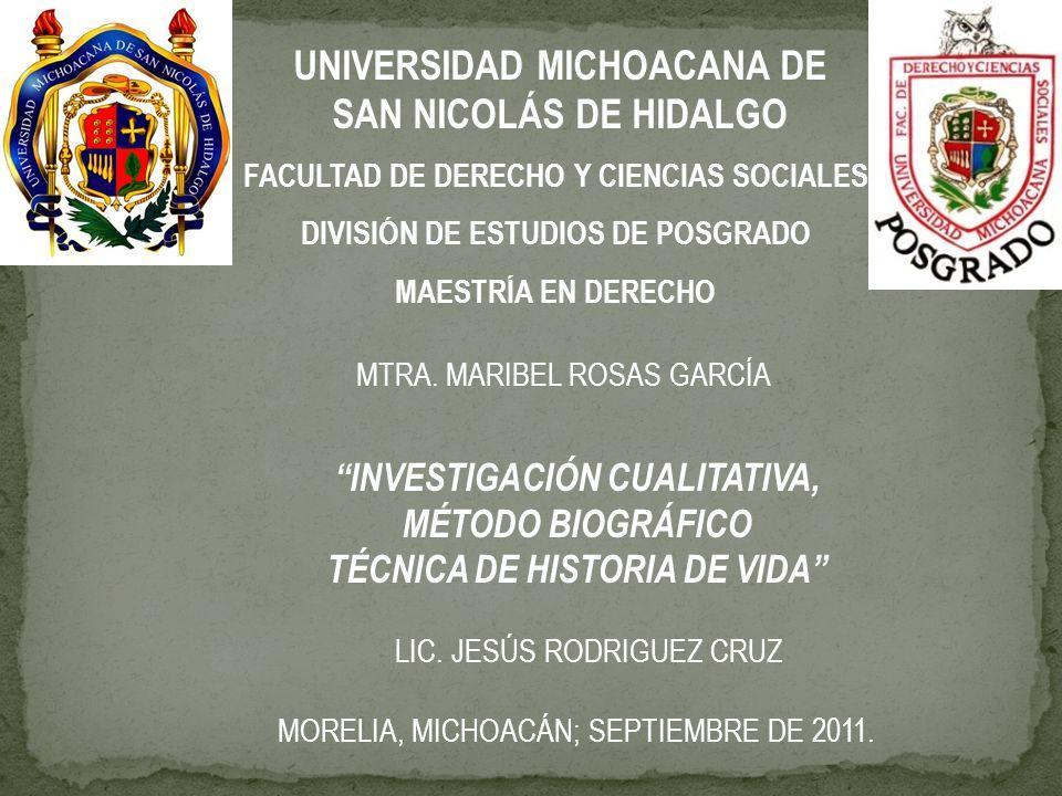 UNIVERSIDAD MICHOACANA DE SAN NICOLÁS DE HIDALGO FACULTAD DE DERECHO Y CIENCIAS SOCIALES DIVISIÓN DE ESTUDIOS DE POSGRADO MAESTRÍA EN DERECHO MTRA. MA
