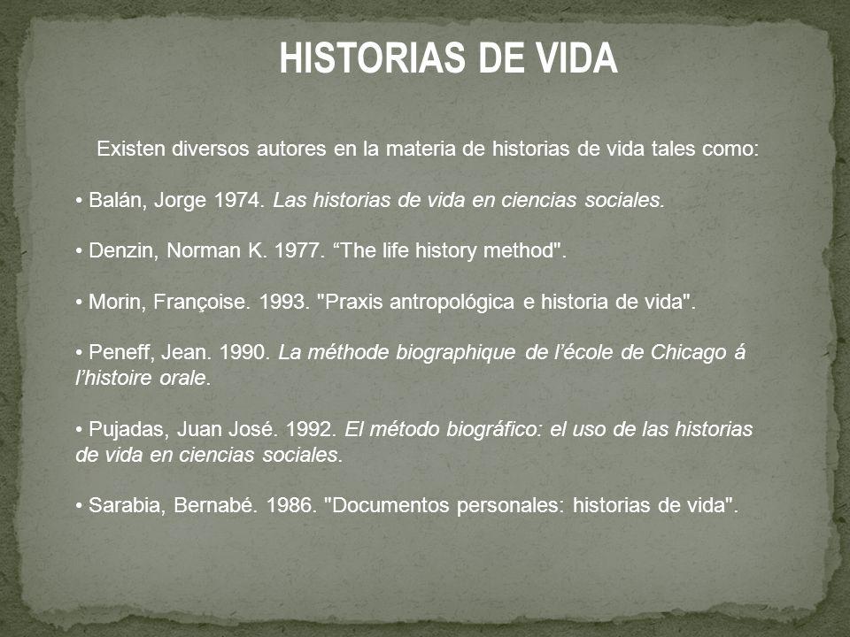 HISTORIAS DE VIDA Existen diversos autores en la materia de historias de vida tales como: Balán, Jorge 1974.