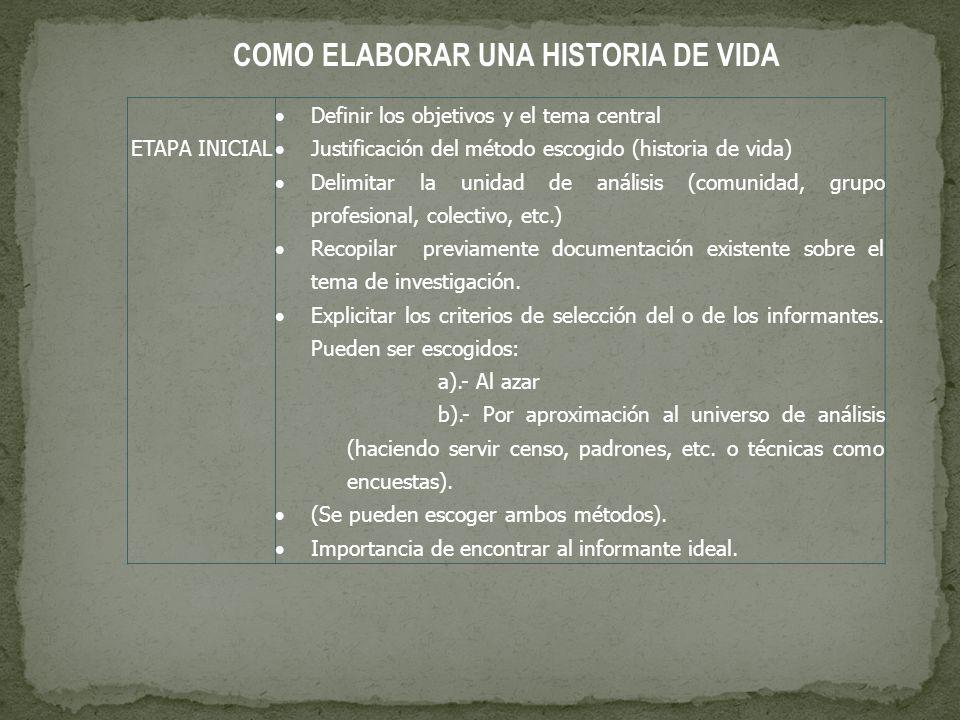 COMO ELABORAR UNA HISTORIA DE VIDA ETAPA INICIAL Definir los objetivos y el tema central Justificación del método escogido (historia de vida) Delimita