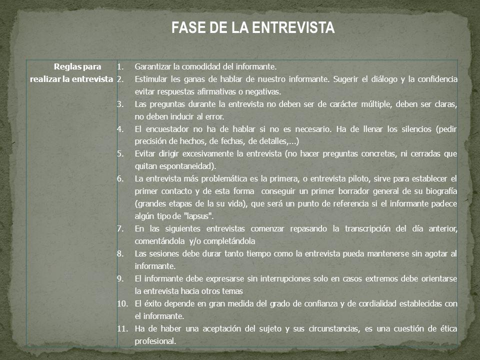 FASE DE LA ENTREVISTA Reglas para realizar la entrevista 1.Garantizar la comodidad del informante.