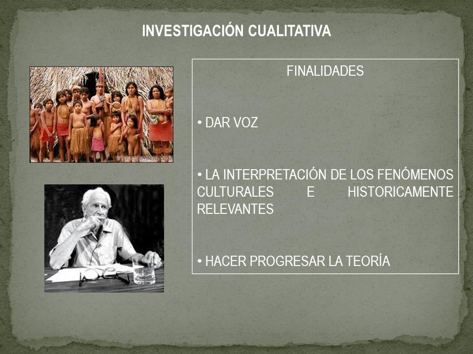 FINALIDADES DAR VOZ LA INTERPRETACIÓN DE LOS FENÓMENOS CULTURALES E HISTORICAMENTE RELEVANTES HACER PROGRESAR LA TEORÍA INVESTIGACIÓN CUALITATIVA