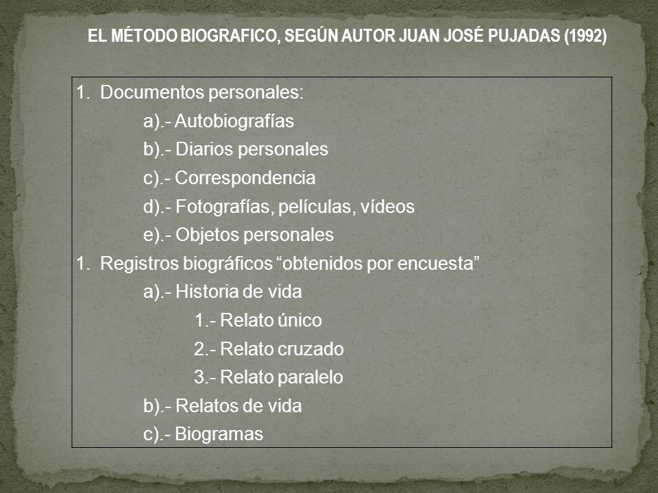 EL MÉTODO BIOGRAFICO, SEGÚN AUTOR JUAN JOSÉ PUJADAS (1992) 1.Documentos personales: a).- Autobiografías b).- Diarios personales c).- Correspondencia d