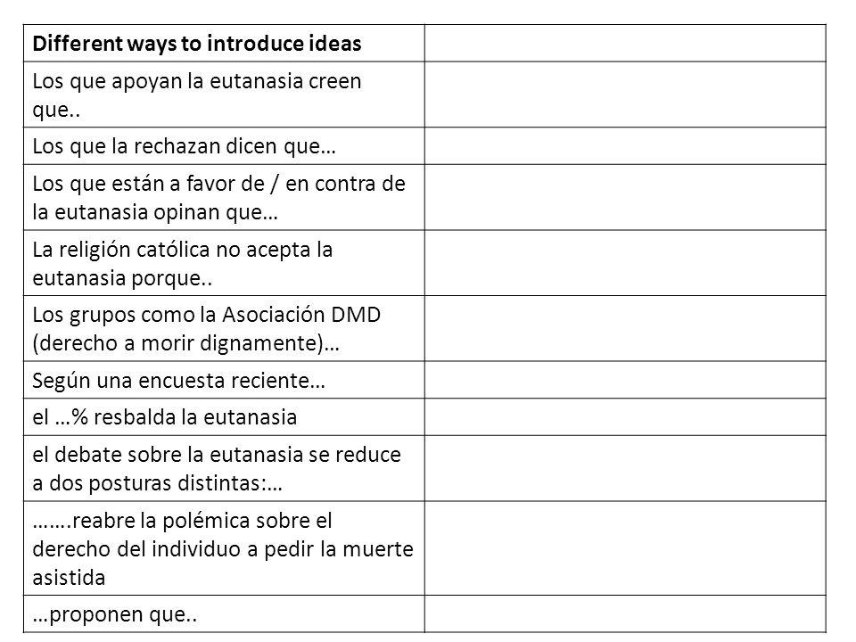 Different ways to introduce ideas Los que apoyan la eutanasia creen que.. Los que la rechazan dicen que… Los que están a favor de / en contra de la eu