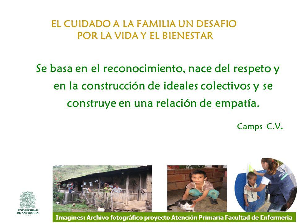 EL CUIDADO A LA FAMILIA UN DESAFIO POR LA VIDA Y EL BIENESTAR Se basa en el reconocimiento, nace del respeto y en la construcción de ideales colectivo