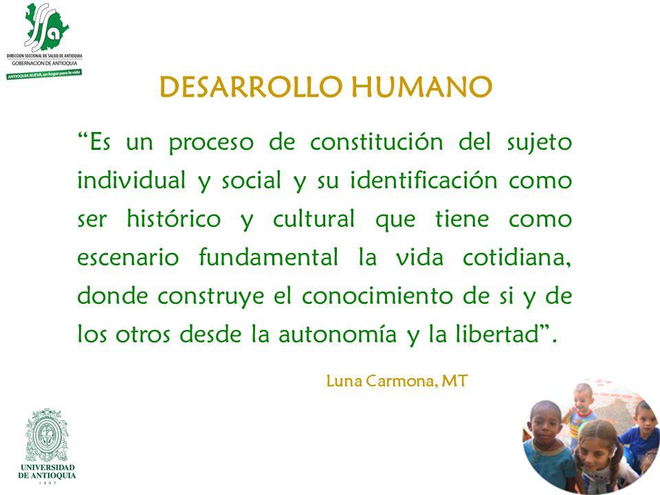 DESARROLLO HUMANO Es un proceso de constitución del sujeto individual y social y su identificación como ser histórico y cultural que tiene como escena