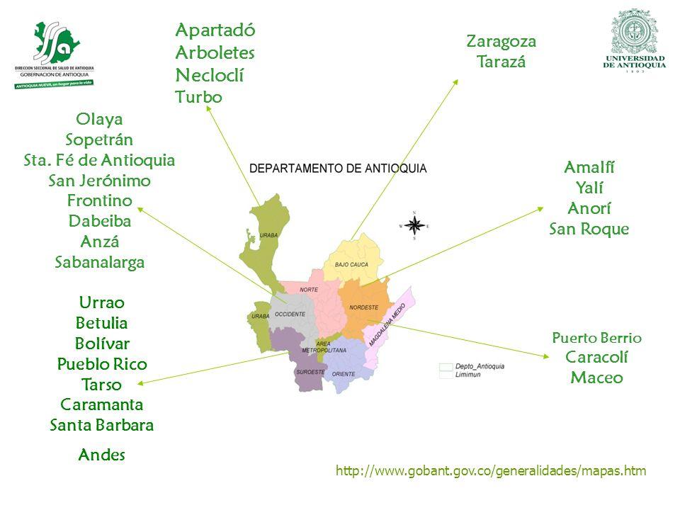http://www.gobant.gov.co/generalidades/mapas.htm Zaragoza Tarazá Puerto Berrio Caracolí Maceo Amalfí Yalí Anorí San Roque Apartadó Arboletes Necloclí