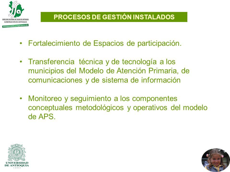 Fortalecimiento de Espacios de participación. Transferencia técnica y de tecnología a los municipios del Modelo de Atención Primaria, de comunicacione