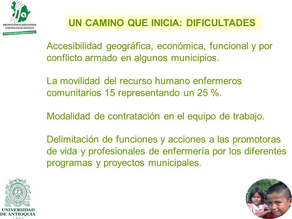Accesibilidad geográfica, económica, funcional y por conflicto armado en algunos municipios. La movilidad del recurso humano enfermeros comunitarios 1