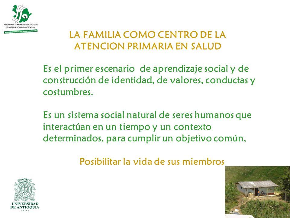 LA FAMILIA COMO CENTRO DE LA ATENCION PRIMARIA EN SALUD Es el primer escenario de aprendizaje social y de construcción de identidad, de valores, condu
