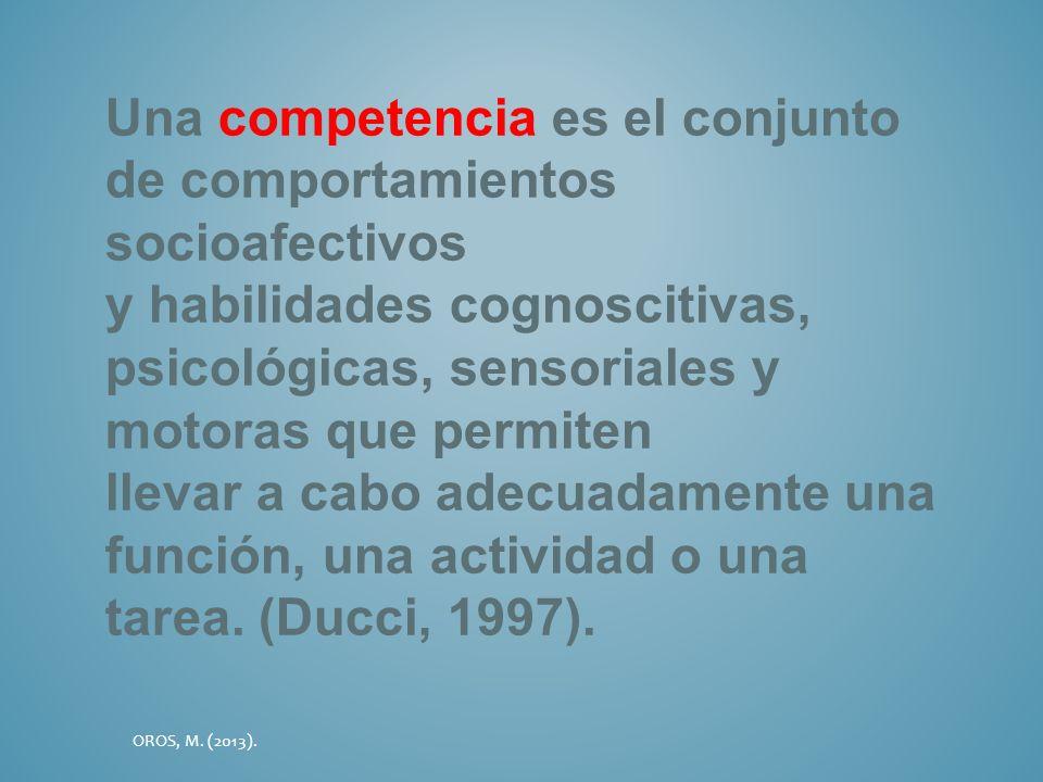 Una competencia es el conjunto de comportamientos socioafectivos y habilidades cognoscitivas, psicológicas, sensoriales y motoras que permiten llevar