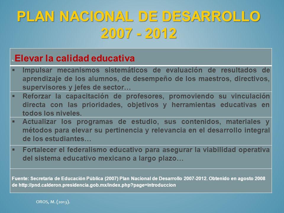 PLAN NACIONAL DE DESARROLLO 2007 - 2012 1. Elevar la calidad educativa Impulsar mecanismos sistemáticos de evaluación de resultados de aprendizaje de