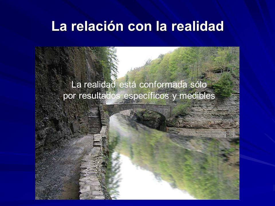 La relación con la realidad La realidad está conformada sólo por resultados específicos y medibles