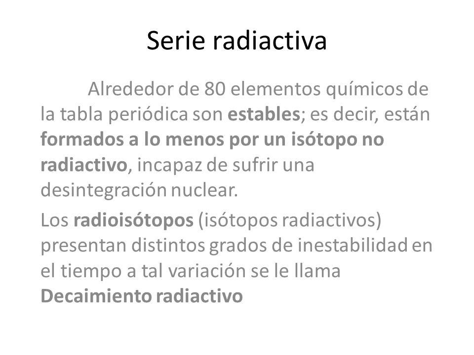 Alrededor de 80 elementos químicos de la tabla periódica son estables; es decir, están formados a lo menos por un isótopo no radiactivo, incapaz de su