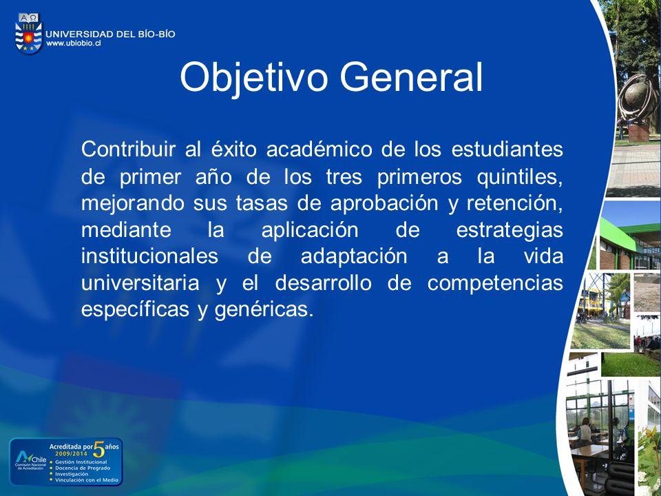 Objetivo General Contribuir al éxito académico de los estudiantes de primer año de los tres primeros quintiles, mejorando sus tasas de aprobación y re
