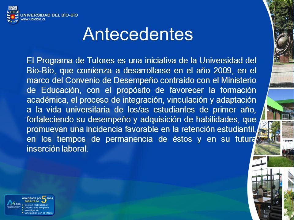 Antecedentes El Programa de Tutores es una iniciativa de la Universidad del Bío-Bío, que comienza a desarrollarse en el año 2009, en el marco del Conv