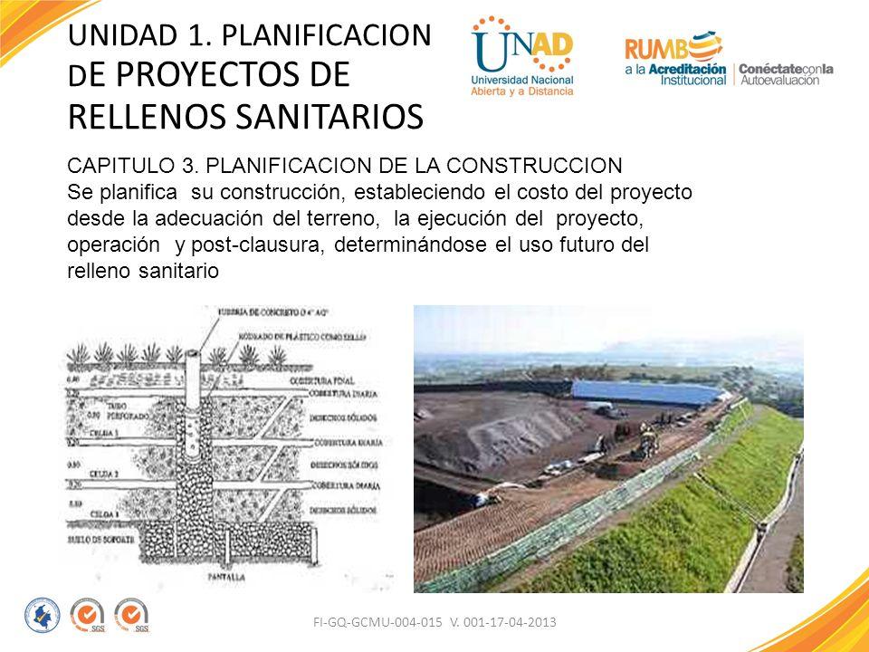 FI-GQ-GCMU-004-015 V. 001-17-04-2013 UNIDAD 1. PLANIFICACION D E PROYECTOS DE RELLENOS SANITARIOS CAPITULO 3. PLANIFICACION DE LA CONSTRUCCION Se plan