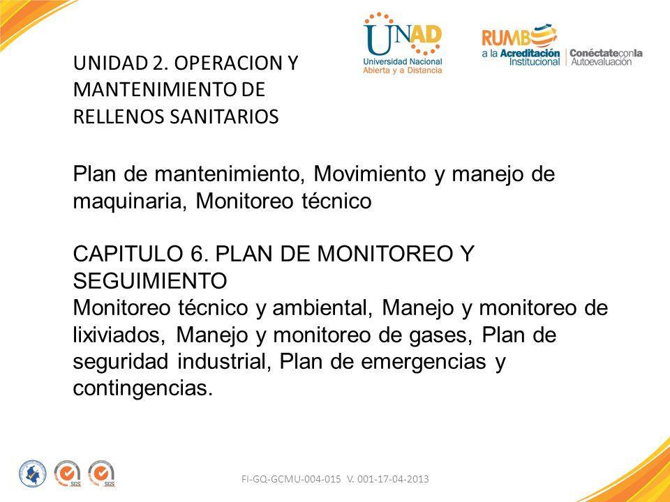 FI-GQ-GCMU-004-015 V. 001-17-04-2013 UNIDAD 2. OPERACION Y MANTENIMIENTO DE RELLENOS SANITARIOS Plan de mantenimiento, Movimiento y manejo de maquinar