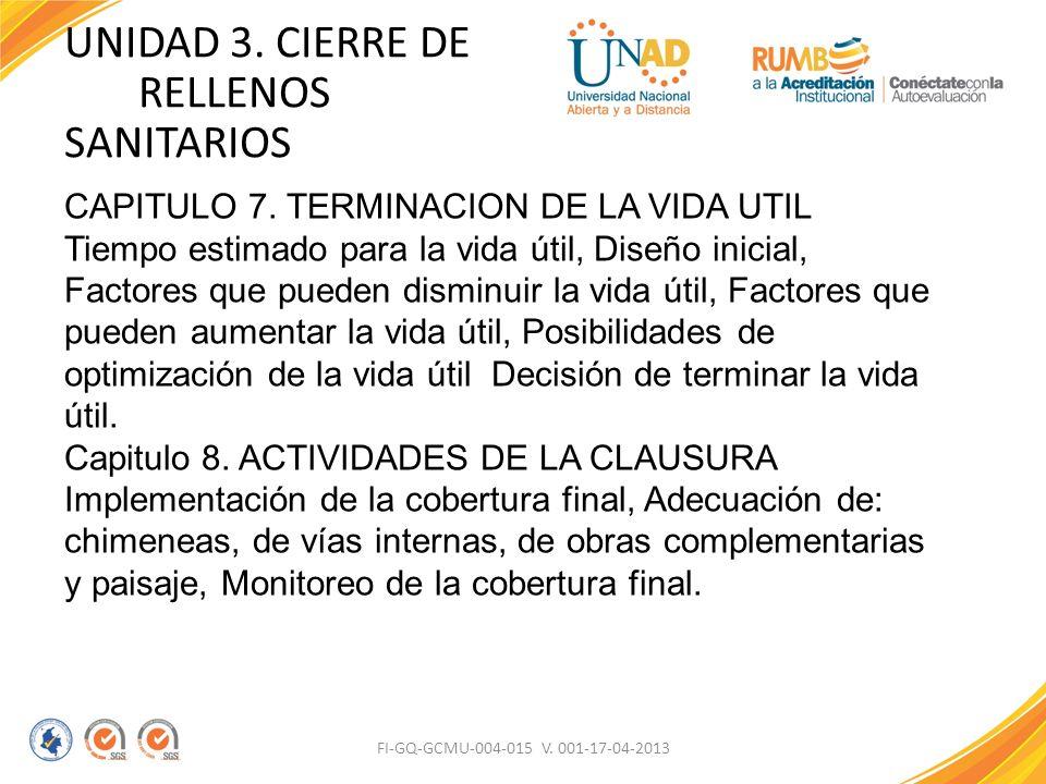 FI-GQ-GCMU-004-015 V. 001-17-04-2013 UNIDAD 3. CIERRE DE RELLENOS SANITARIOS CAPITULO 7. TERMINACION DE LA VIDA UTIL Tiempo estimado para la vida útil