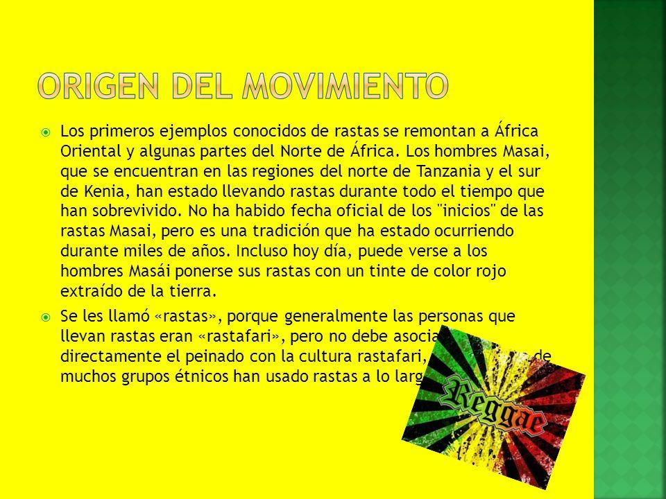 Los primeros ejemplos conocidos de rastas se remontan a África Oriental y algunas partes del Norte de África. Los hombres Masai, que se encuentran en