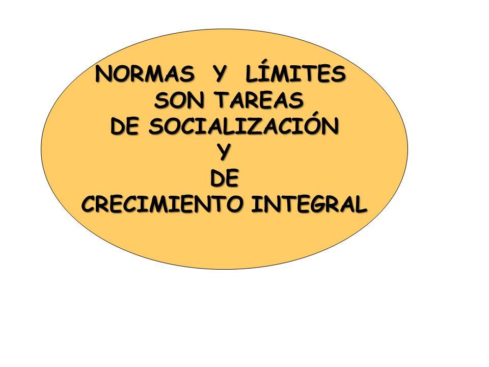 NORMAS Y LÍMITES SON TAREAS SON TAREAS DE SOCIALIZACIÓN YDE CRECIMIENTO INTEGRAL