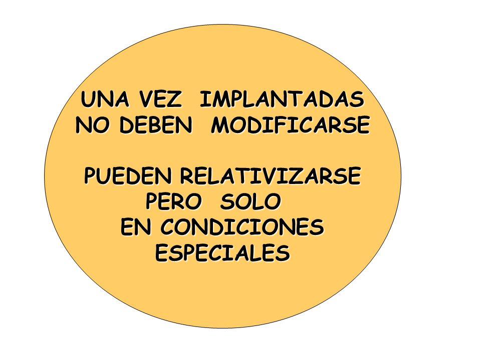 UNA VEZ IMPLANTADAS NO DEBEN MODIFICARSE PUEDEN RELATIVIZARSE PERO SOLO EN CONDICIONES ESPECIALES
