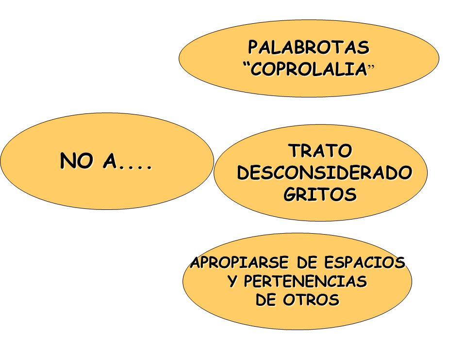 NO A.... PALABROTAS COPROLALIA COPROLALIA TRATO DESCONSIDERADO DESCONSIDERADOGRITOS APROPIARSE DE ESPACIOS Y PERTENENCIAS DE OTROS