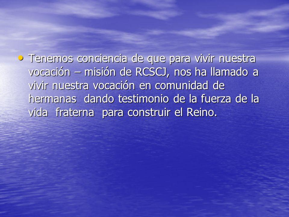Tenemos conciencia de que para vivir nuestra vocación – misión de RCSCJ, nos ha llamado a vivir nuestra vocación en comunidad de hermanas dando testim