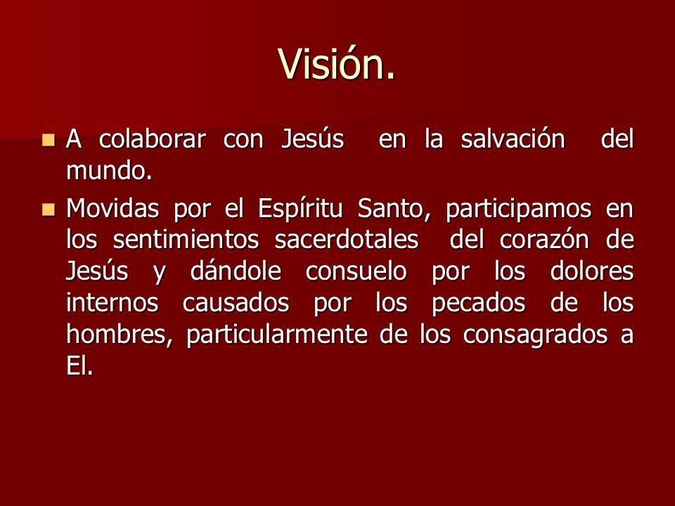 Visión. A colaborar con Jesús en la salvación del mundo. A colaborar con Jesús en la salvación del mundo. Movidas por el Espíritu Santo, participamos