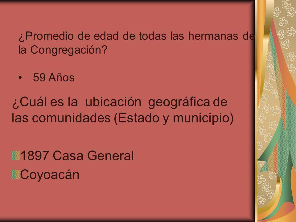 ¿Cuál es la ubicación geográfica de las comunidades (Estado y municipio) 1897 Casa General Coyoacán ¿Promedio de edad de todas las hermanas de la Cong