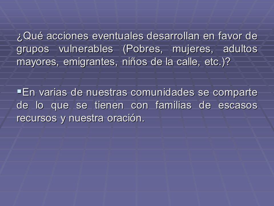¿Qué acciones eventuales desarrollan en favor de grupos vulnerables (Pobres, mujeres, adultos mayores, emigrantes, niños de la calle, etc.)? En varias