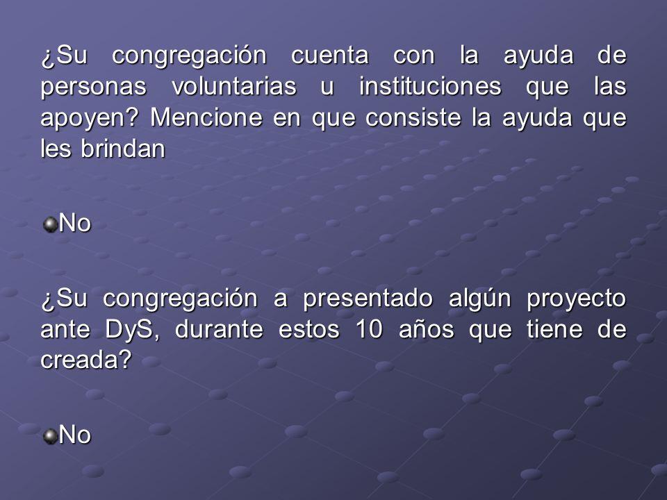 ¿Su congregación cuenta con la ayuda de personas voluntarias u instituciones que las apoyen? Mencione en que consiste la ayuda que les brindan No ¿Su