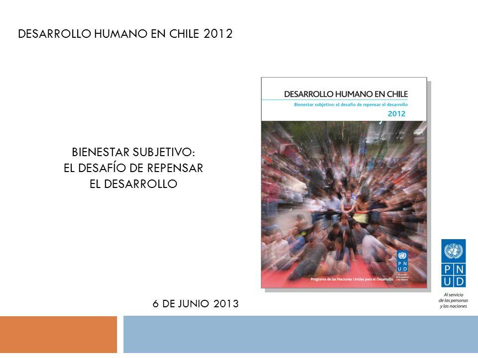 DESARROLLO HUMANO EN CHILE 2012 6 DE JUNIO 2013 BIENESTAR SUBJETIVO: EL DESAFÍO DE REPENSAR EL DESARROLLO
