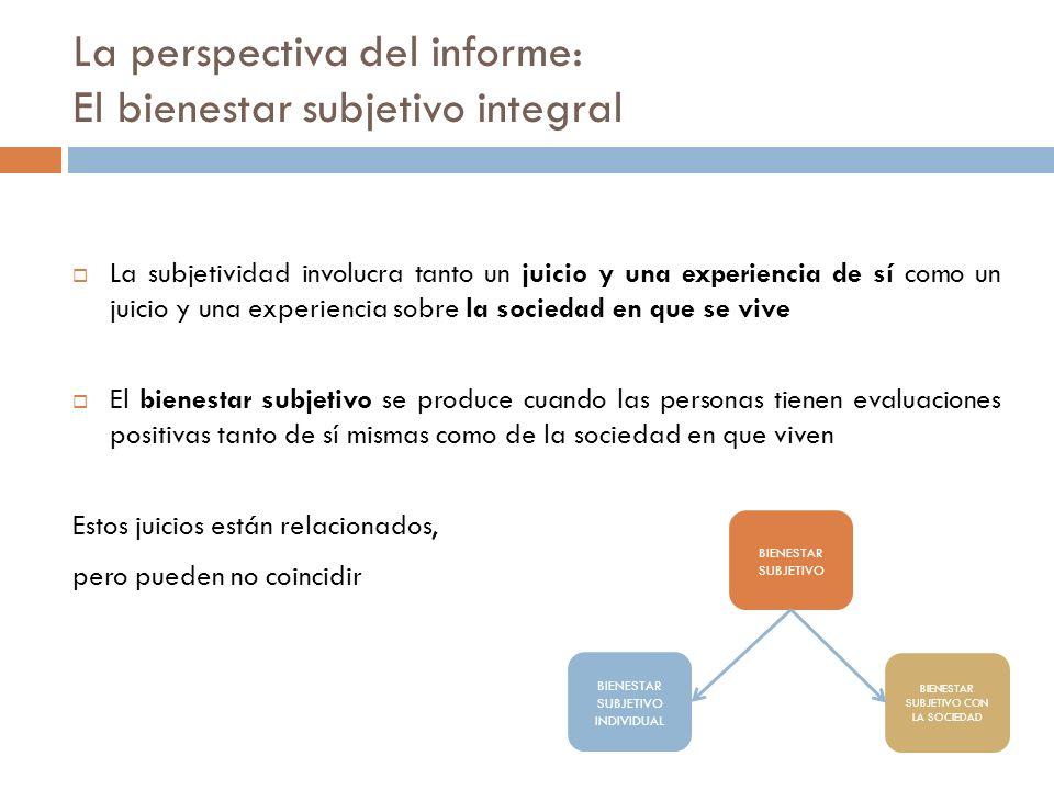 La subjetividad involucra tanto un juicio y una experiencia de sí como un juicio y una experiencia sobre la sociedad en que se vive El bienestar subje