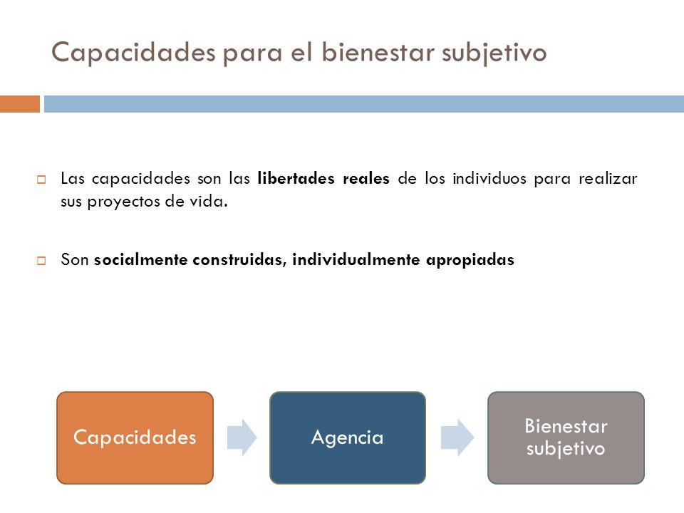 Capacidades para el bienestar subjetivo Las capacidades son las libertades reales de los individuos para realizar sus proyectos de vida. Son socialmen