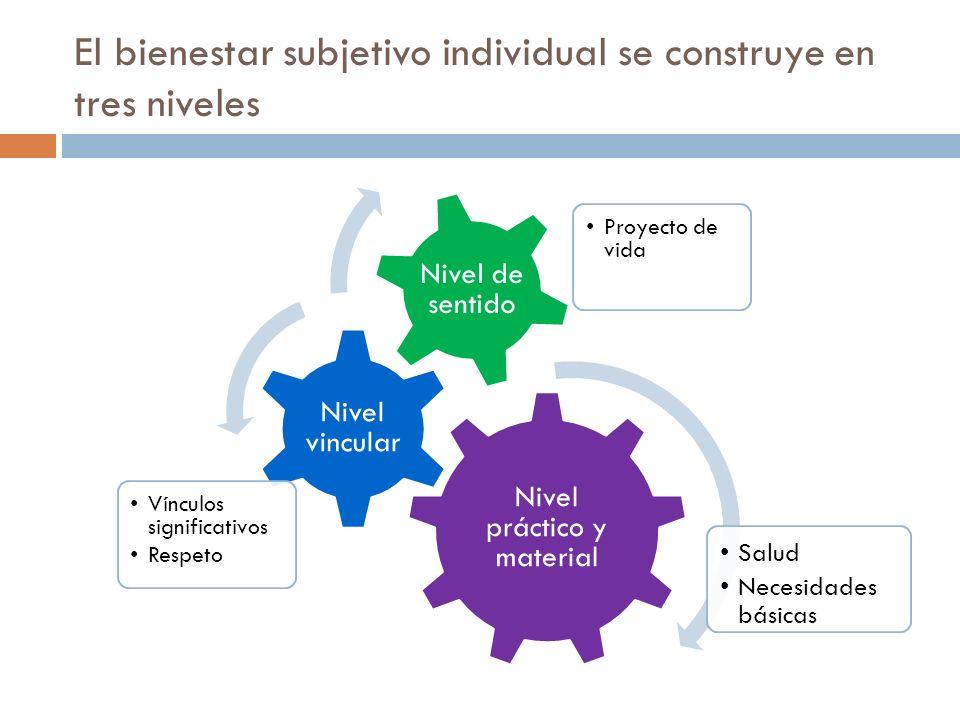 El bienestar subjetivo individual se construye en tres niveles Nivel práctico y material Nivel vincular Vínculos significativos Respeto Nivel de senti