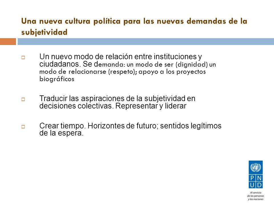 Un nuevo modo de relación entre instituciones y ciudadanos. Se d emanda: un modo de ser (dignidad) un modo de relacionarse (respeto); apoyo a los proy