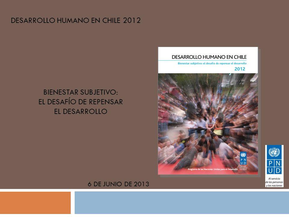 DESARROLLO HUMANO EN CHILE 2012 6 DE JUNIO DE 2013 BIENESTAR SUBJETIVO: EL DESAFÍO DE REPENSAR EL DESARROLLO