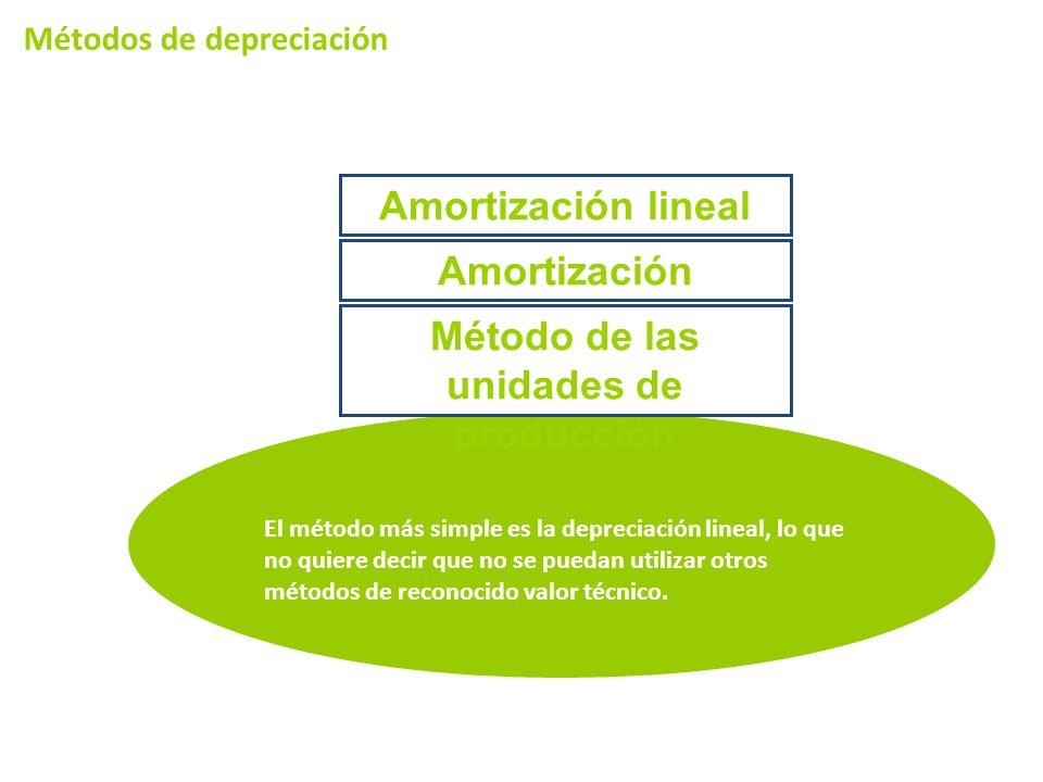 Métodos de depreciación El método más simple es la depreciación lineal, lo que no quiere decir que no se puedan utilizar otros métodos de reconocido valor técnico.