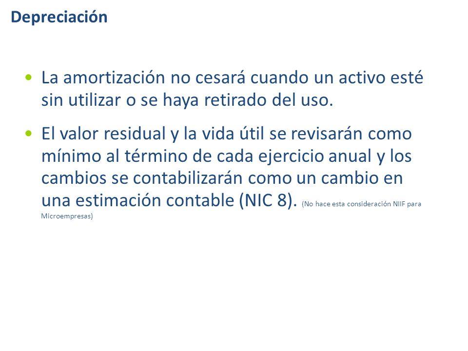 La amortización no cesará cuando un activo esté sin utilizar o se haya retirado del uso.
