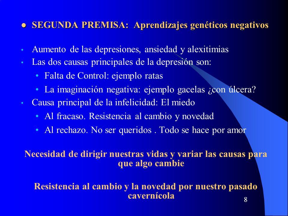 8 SEGUNDA PREMISA: Aprendizajes genéticos negativos SEGUNDA PREMISA: Aprendizajes genéticos negativos Aumento de las depresiones, ansiedad y alexitimias Las dos causas principales de la depresión son: Falta de Control: ejemplo ratas La imaginación negativa: ejemplo gacelas ¿con úlcera.