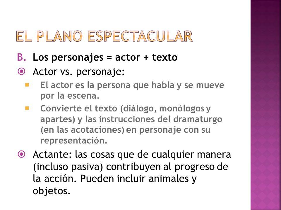 B.Los personajes = actor + texto Actor vs. personaje: El actor es la persona que habla y se mueve por la escena. Convierte el texto (diálogo, monólogo