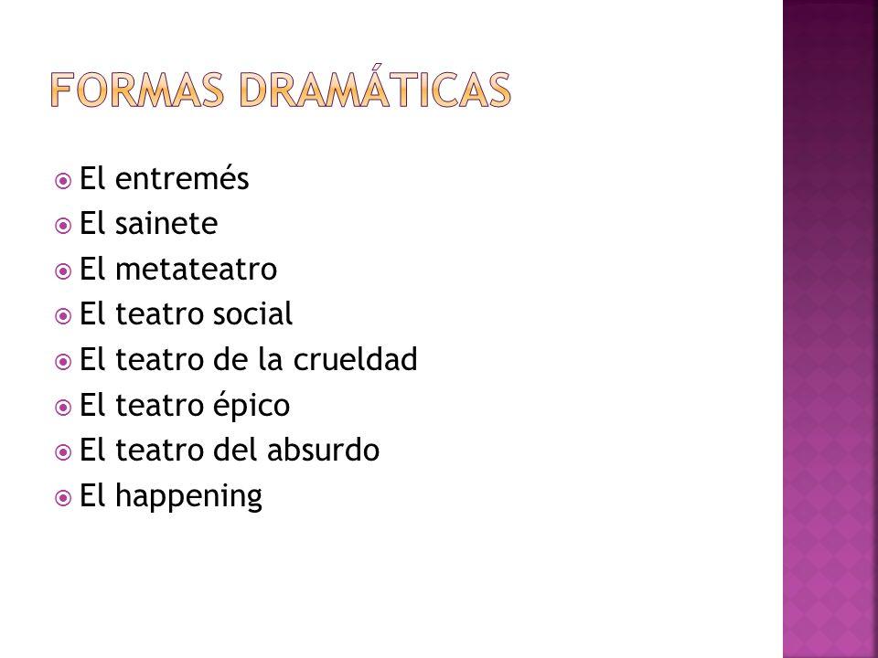 El entremés El sainete El metateatro El teatro social El teatro de la crueldad El teatro épico El teatro del absurdo El happening