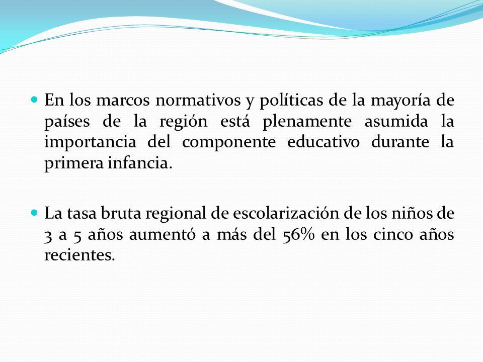 En los marcos normativos y políticas de la mayoría de países de la región está plenamente asumida la importancia del componente educativo durante la p