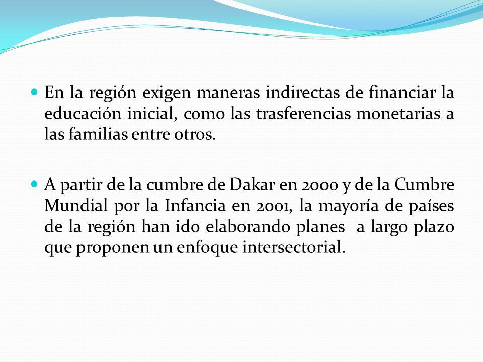 En la región exigen maneras indirectas de financiar la educación inicial, como las trasferencias monetarias a las familias entre otros. A partir de la