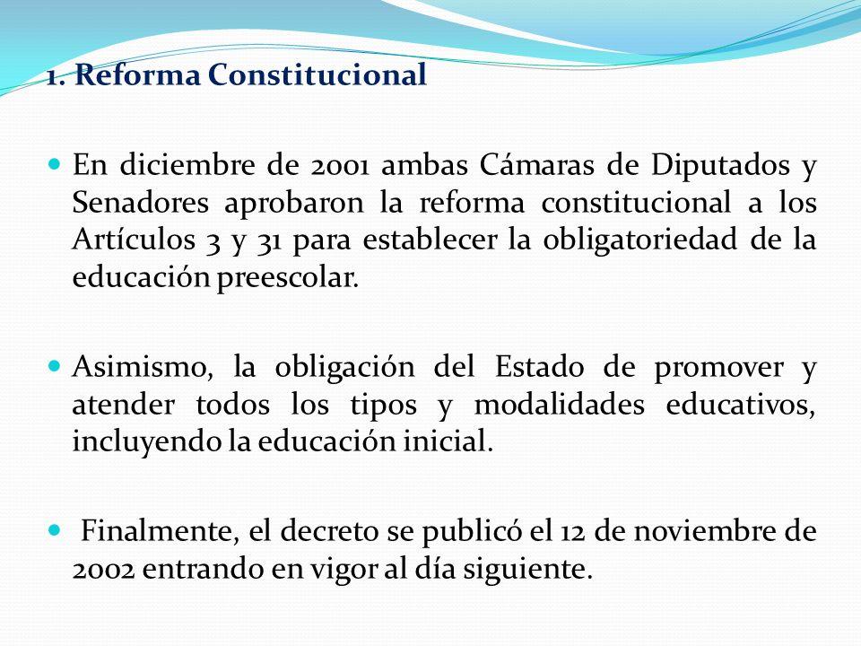 1. Reforma Constitucional En diciembre de 2001 ambas Cámaras de Diputados y Senadores aprobaron la reforma constitucional a los Artículos 3 y 31 para