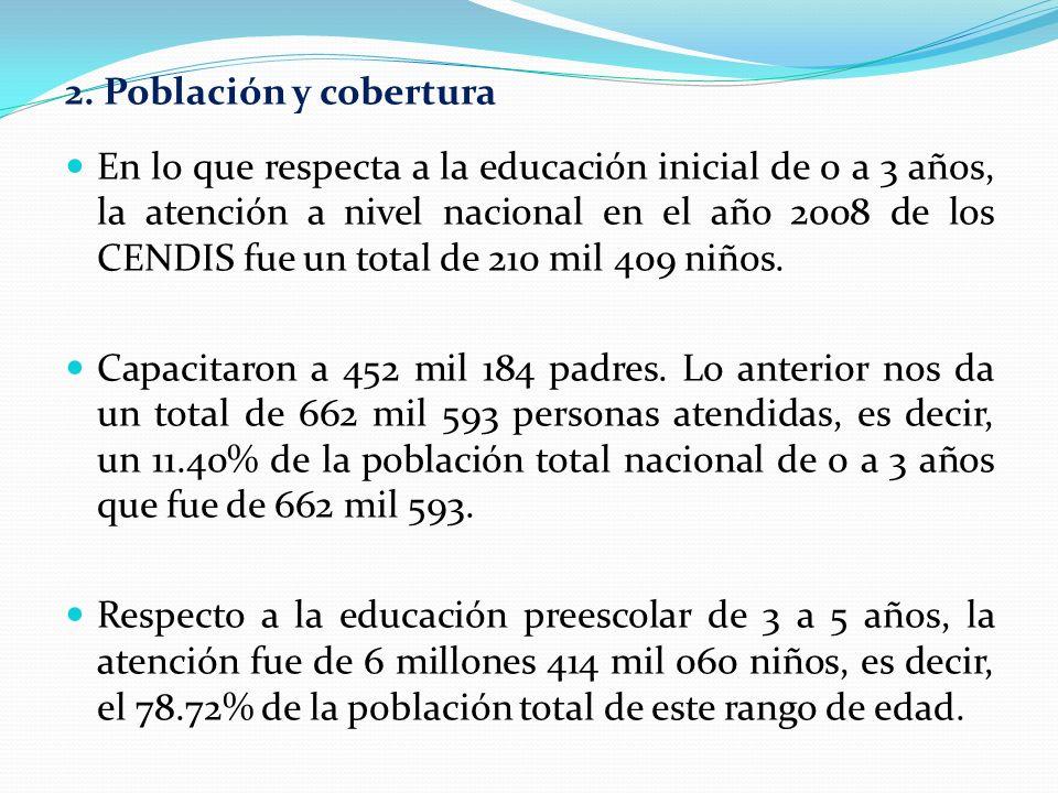 2. Población y cobertura En lo que respecta a la educación inicial de 0 a 3 años, la atención a nivel nacional en el año 2008 de los CENDIS fue un tot