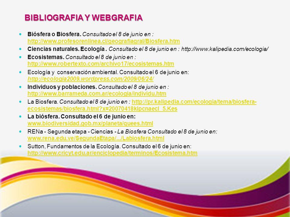 BIBLIOGRAFIA Y WEBGRAFIA Biósfera o Biosfera.