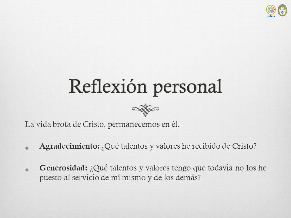 Reflexión personalReflexión personal La vida brota de Cristo, permanecemos en él.