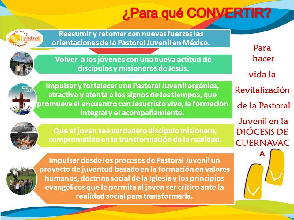 Reasumir y retomar con nuevas fuerzas las orientaciones de la Pastoral Juvenil en México. Volver a los jóvenes con una nueva actitud de discípulos y m